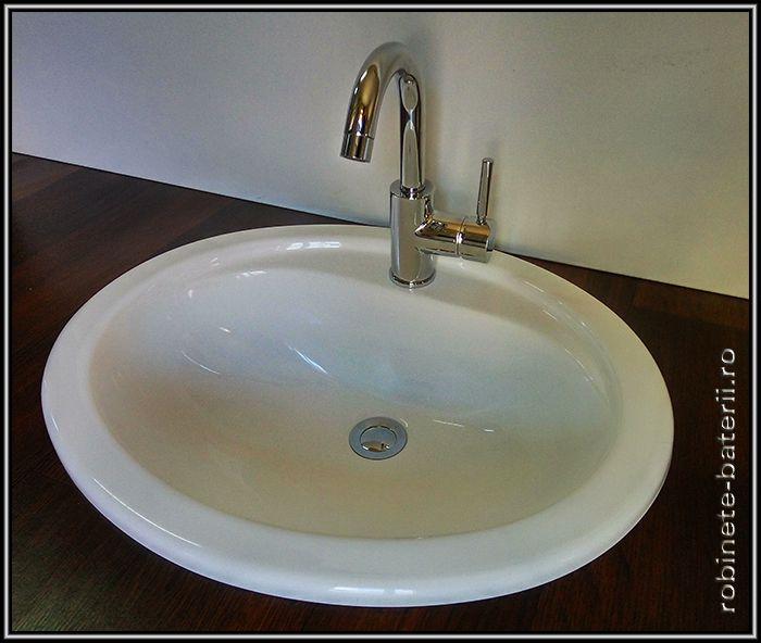 Lavoar oval Arezzo incastrabil din compozit marmura