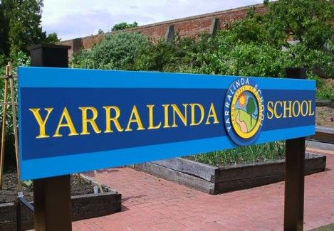 Yarralinda School Signs - The bright, colourful logo has interesting chip carved elements. Danthonia uses Dulux Weathershield paints, Australia's most UV resistant acrylic. These paints carry a 15-year manufacturers guarantee against cracking, blistering and/or peeling. Click through to our wesite to see more.