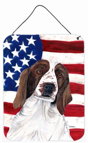 USA American Flag with Welsh Springer Spaniel Wall or Door Hanging Prints, Multi