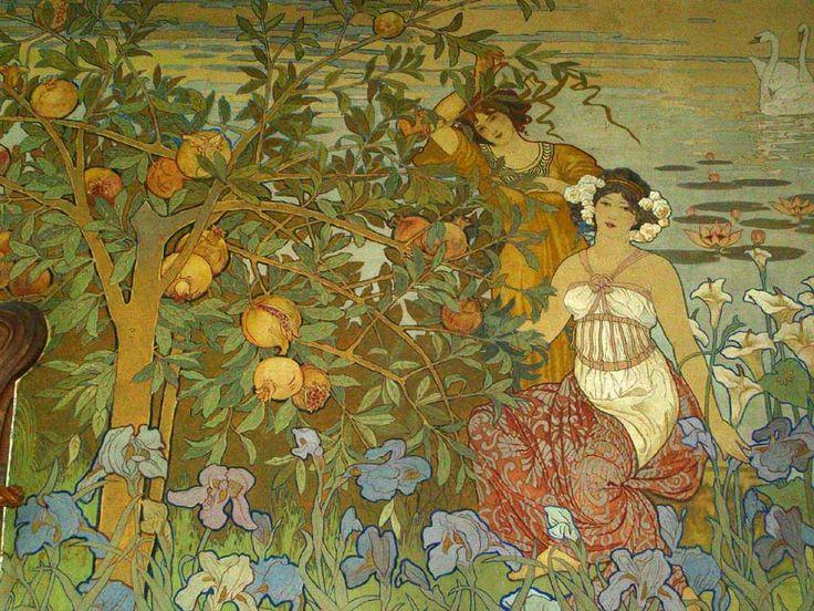 Ettore De Maria Bergler con la collaborazione di L. Di Giovanni e M. Cortegiani, affreschi del salone di Villa Igiea, 1908 #Sicily #Palermo