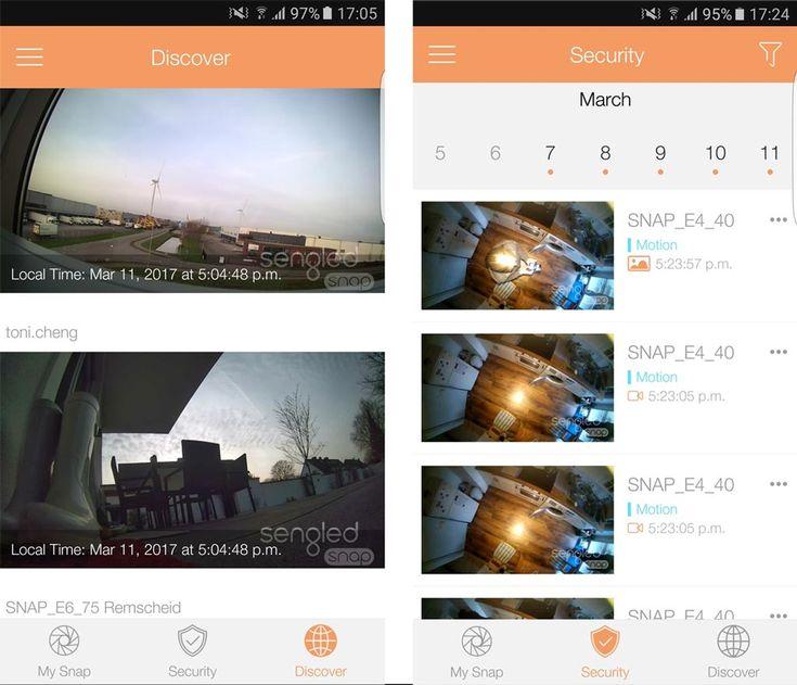 """Unter """"Security"""" zeigt die App Videoschnappschüssen Ihrer Sengled Snap und unter """"Discover"""" eine Auswahl öffentlicher Livestreams."""