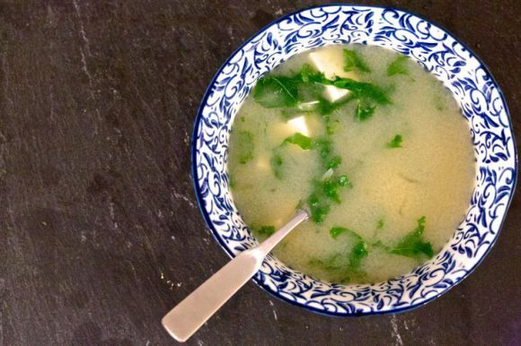 Miso soup- recommended as part of an alkaline breakfast!