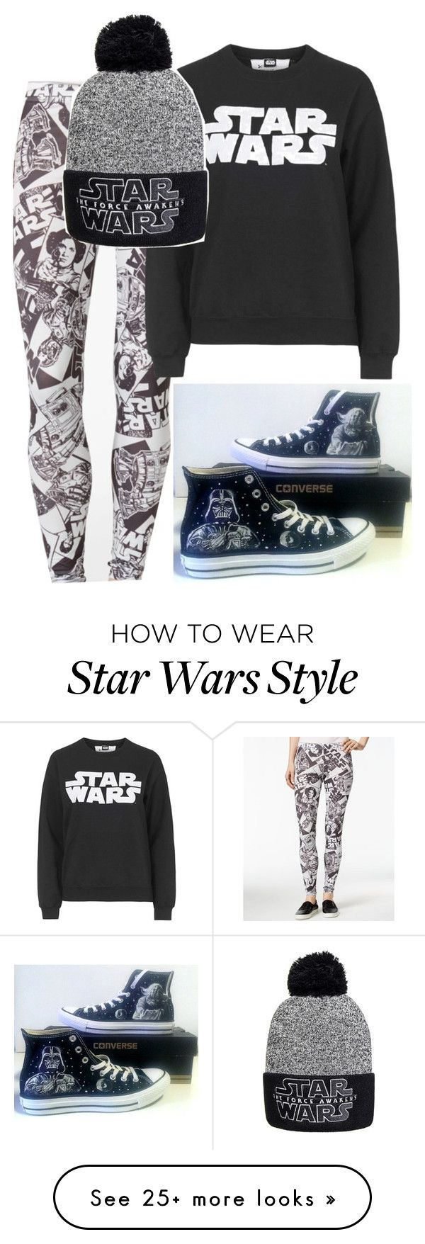 """star wars"" by kyrstenann on Polyvore featuring Mighty Fine, Tee and Cake and Converse"