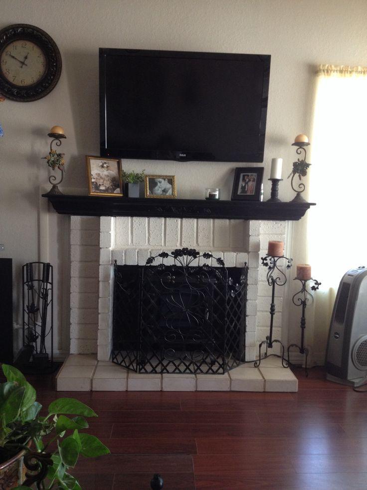 White Brick Fireplace With Black Mantel New House Pinterest