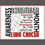 "Lung Cancer Awareness Month is November. Remind others that November is Lung Cancer Awareness Month and display your commitment to supporting the lung cancer fighters, admiring the lung cancer survivors, and remembering the taken with our inspirational lung cancer awareness month t-shirts and gifts featuring a pretty pearl lung cancer support ribbon shaped like a heart and text ""Supporting the Fighters, Admiring the Survivors, Remembering the Taken, and never, ever giving up Hope"", all…"