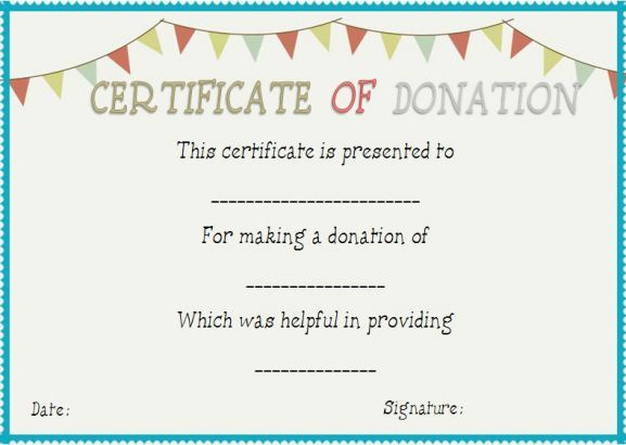 Donation In Honor Of Certificate Template Certificate