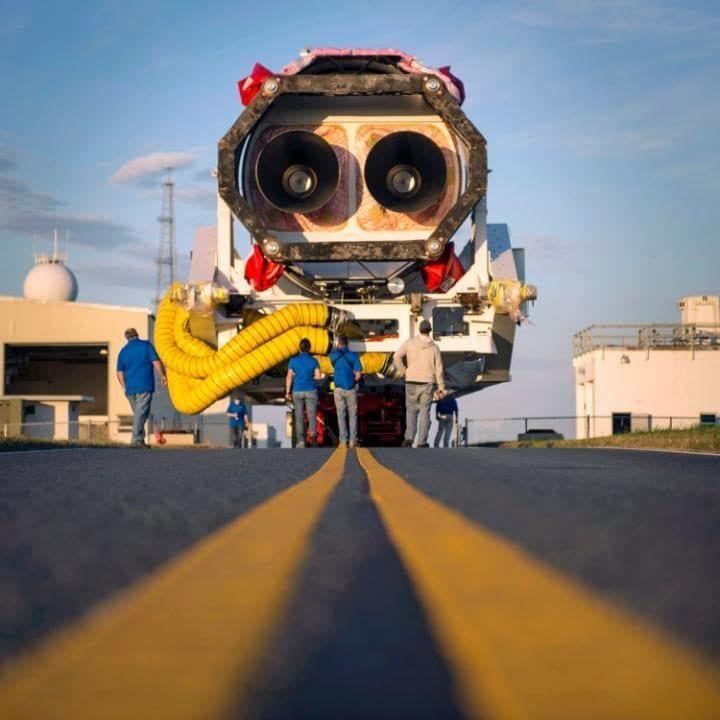 The Orbital ATK Antares rocket is rolled from the Horizontal Integration Facility (HIF) to launch Pad-0A, at Nasa's Wallops Flight Facility in Virginia