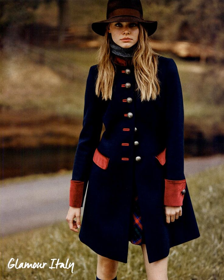 Warm up with this regal military coat by Fay, as seen in Glamour Italia.