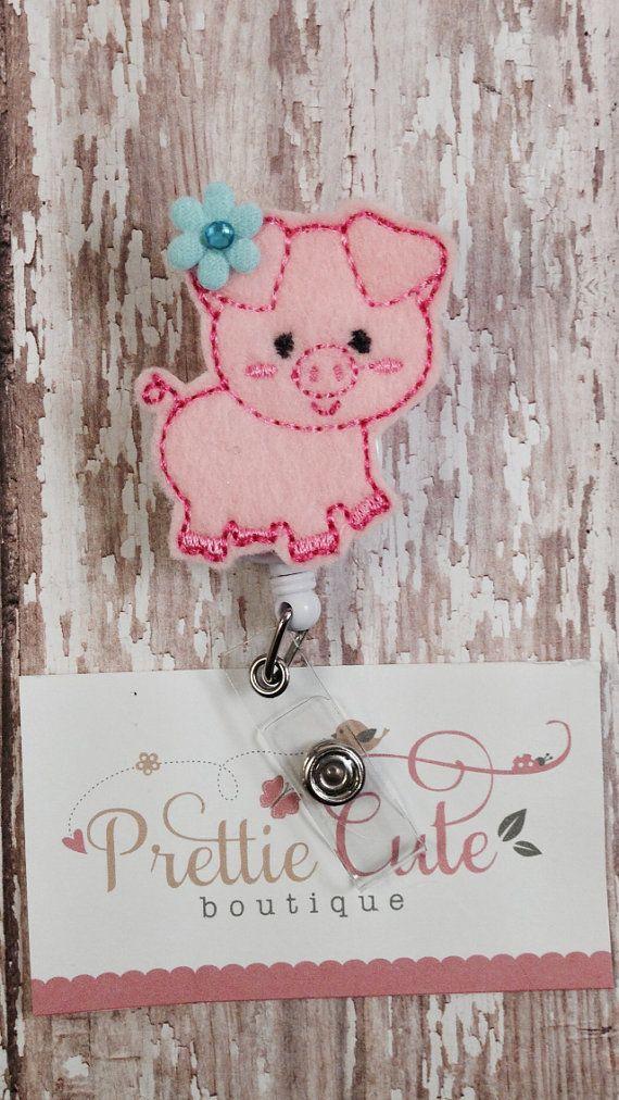 Cute Pig - Name Badge Holder - Cute Badge Reel - Unique Retractable ID Badge Holder - Felt Badge Reel - Peds on Etsy, $5.95