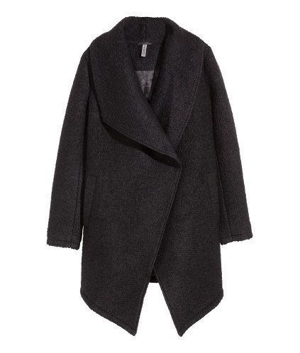 Black. Double-breasted coat in marled wool-blend bouclé yarn with a wide shawl collar, concealed press-studs at the front and one inner pocket. Asymmetric