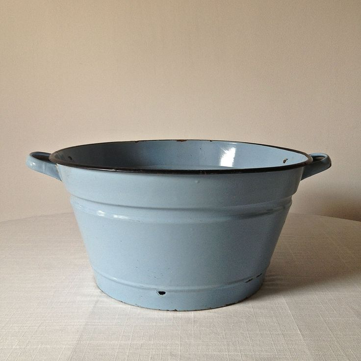 Blue enamel bowl, used as one of our hamper containers... www.thecleverhampercompany.co.uk
