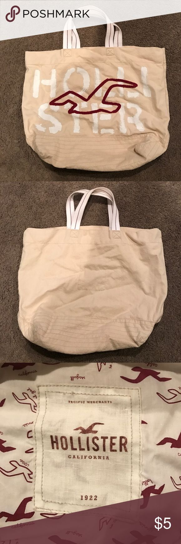 Hollister tote bag cream color Hollister tote bag.  Cream/tan color with red and white design. Hollister Bags Totes
