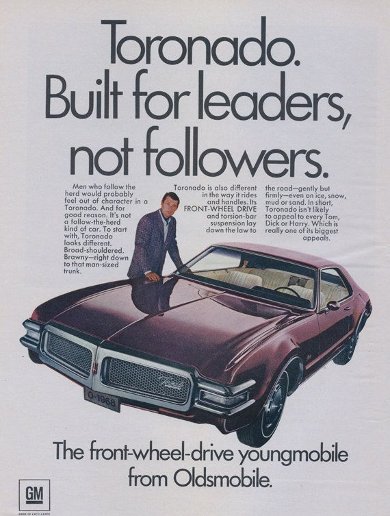 1968 Oldsmobile Toronado Car Ad Classic Automobile by AdVintageCom