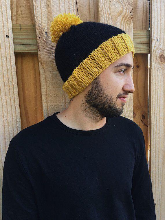 58b4242e Collegiate Rib Brim Beanie // Mustard Yellow & Black // Slouchy Hat ...