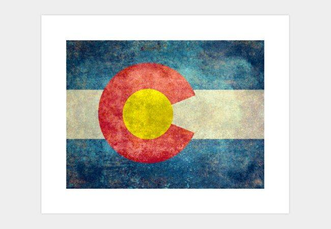State flag of Colorado, USA Art Print - Design By Humans #Colorado #Coloradoflag #coloradostateflag #flag #retro #vintage