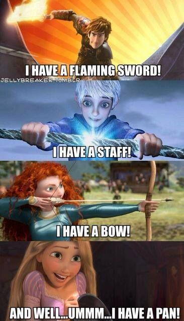 Rapunzel , Jack Frost , Merida and Hiccup I think a frying pan counts has a weapon. Commet if you agree