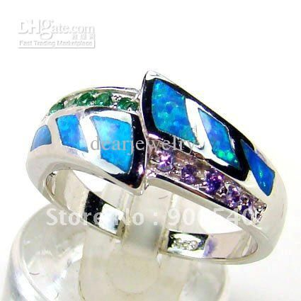 Cheap Silver Jewelry - Wholesale Blue Opal Ring 925 Sterling Silver Jewelry Dsc01128 Online with $7.53/Piece | DHgate