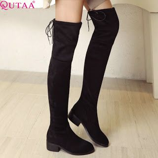QUTAA 2017 Square Low Heel Woman Stretch Fabric Over The Knee Boots Women Shoes Winter Ladies Motorcycle Boots Size 34-43 (32746397439)  SEE MORE  #SuperDeals