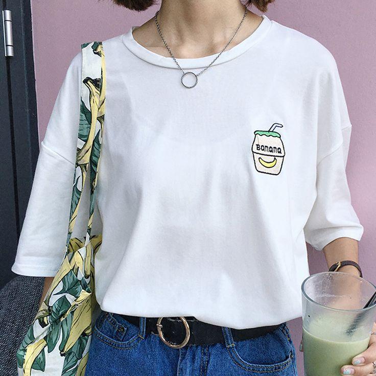 Korean women casual summer campus wind cute cartoon banana Milk bottle embroidery simple loose short-sleeved T-shirt for girls
