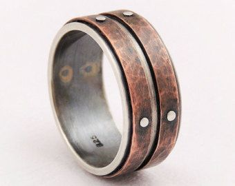 Unique mens wedding ring men engagement by GilleriJewel on Etsy