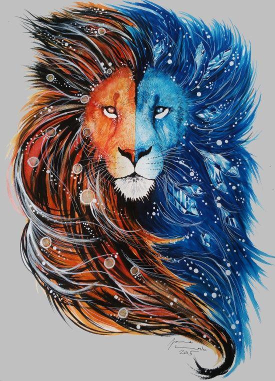 "bestof-society6: "" fire and ice lion by Jonna Lamminaho """