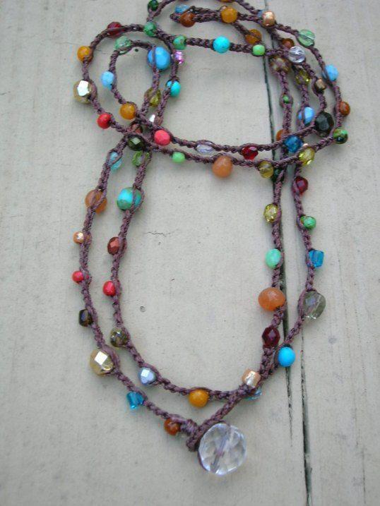 Surfer crochet wrap bracelet, beaded boho necklace sunny