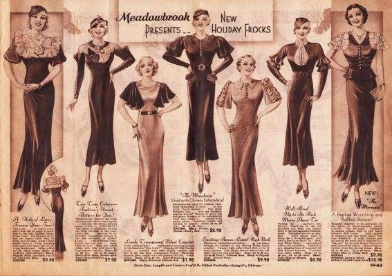 Η πραγματική μόδα τη δεκαετία του '30 γινόταν ολοένα και πιο αισθησιακή. Τα φορέματα ήταν πιο μακριά, σε σχέση με τη δεκαετία του '20, αλλά ακολουθούσαν τη γραμμή του σώματος και τόνιζαν τη γυναικεία σιλουέτα.