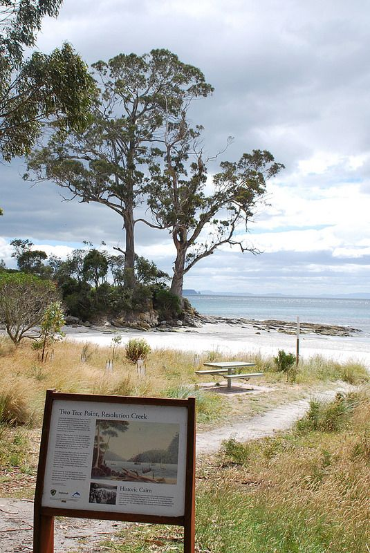 The Two Gum Trees, marks the point where Captain James Cook first set foot on Australian soil. According to Joseph Bank's journal, it was at this spot where himself and the Captain disembarked and fished from the estuary nearby.  They caught some Bream. Bruny Island, Tasmania.
