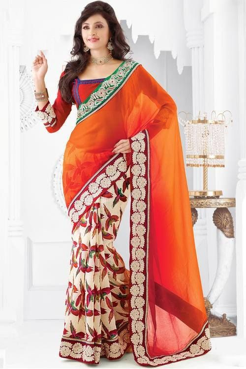 Drape yourself in this gorgeous Orange Colour Resham Border Work Saree only availble @ Ethnicstation.com http://ethnicstation.com/shop/women/sarees/party/orange-colour-resham-border-work-saree-3149.html