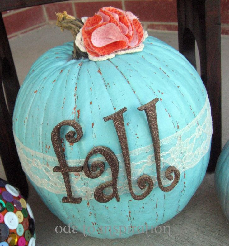 Turquoise pumpkin!: Fall Pumpkin, Holiday, Pumpkin Idea, Craft, Fall Y All, Fall Decor, Shabby Chic, Pumpkins, Pumpkin Decorating