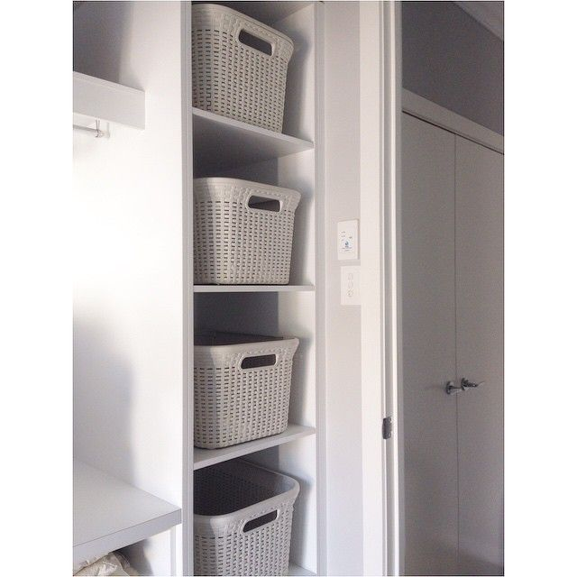Laundry baskets. Different baskets for pinks, darks, whites, towels etc for easy sorting.