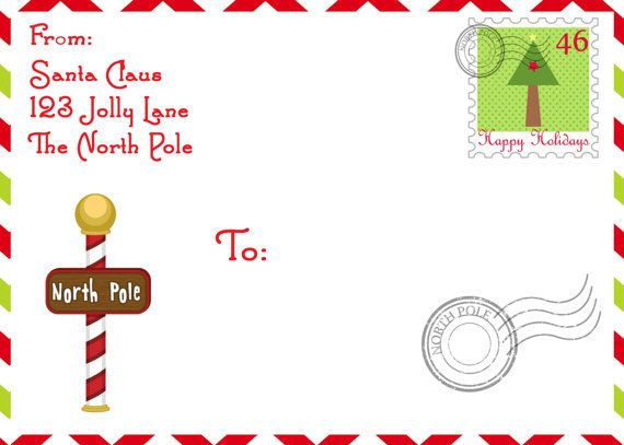 shipping label from santa at the north pole