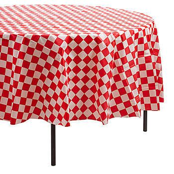 These Red And White Round Checkered Table Cover Feature The Classic Look Of  An Old Italian
