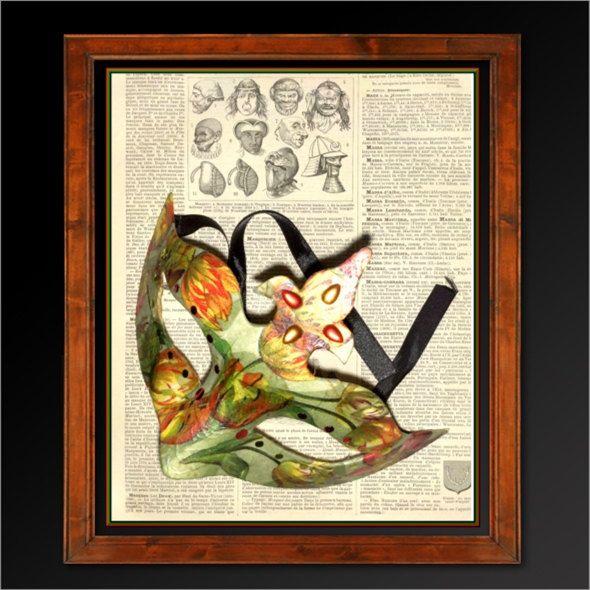 Poster Masque décor floral sur page Dictionnaire français  1930   Fichier numérique JPG téléchargeable immédiatement   Letter 8.5 x 11 inch de la boutique LovelyArtGallery sur Etsy