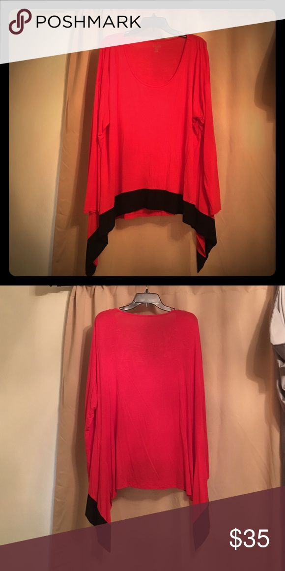 Red Tunic with Black Detailing Flowing tunic with flattering shark bite in black. Never worn. Kensie Tops Tunics