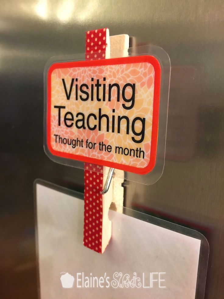 DIY magnet to hold monthly visiting teaching message with free printables and instructions from Elaine's Sweet Life