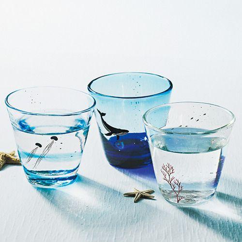 Sea glass(沖縄で漆職人さんが一筆一筆ていねいに描いた 海の風景グラス)