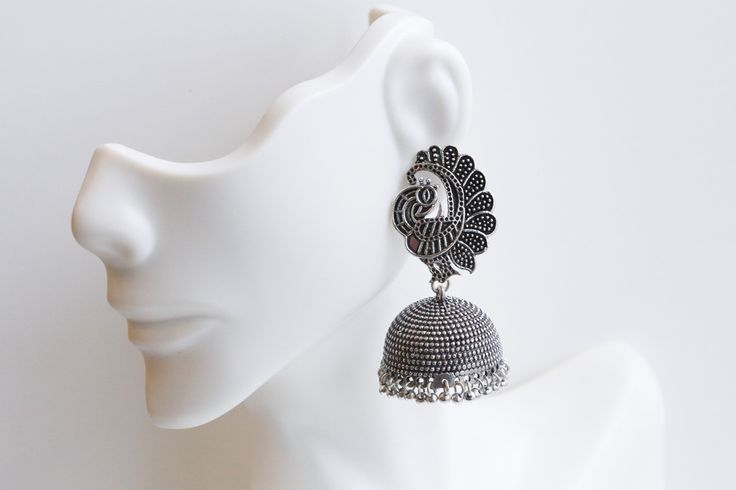 Dancing Peacock Oxidized Silver Finish Earring - AristaBeads Jewelry - 1