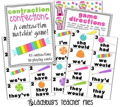 Contraction Confections: Confections Game, Ladybug S Teacher, Ladybug Teacher Files, School Stuff, Ladybugs, School Ideas, Contraction Confections, Teachers, Contraction Game