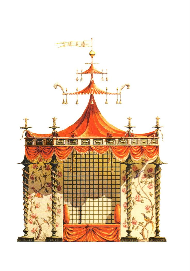 Chinese Tent for Trianon Versailles. Conceived by the workshop of Jean-Baptiste Pillement in 1780, this tent, never built, was possibly designed for Marie-Antoinette's gardens at Trianon.  ( Chinoiseries by Bernd H. Dams and Andrew Zega, Rizzoli New York, 2008)  The book is a compilation of architectural watercolors of 17th and 18th c. Chinoiserie follies and pavilions in France. Rendered by Dams and Zega, the colorful paintings capture the exuberance and charm of these architectural gems. T