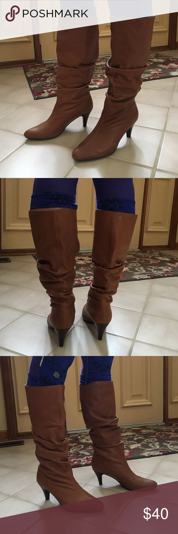 Zara size 38 tan leather boots Zara size 38 tan leather boots with kitten heel. Worn a few times but in excellent condition. open to offers on 95% of the items in my closet! Zara Shoes Heeled Boots