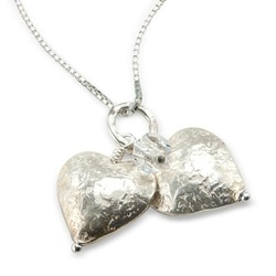 two silver hearts with a swarovski crystal necklace £33 for valentines