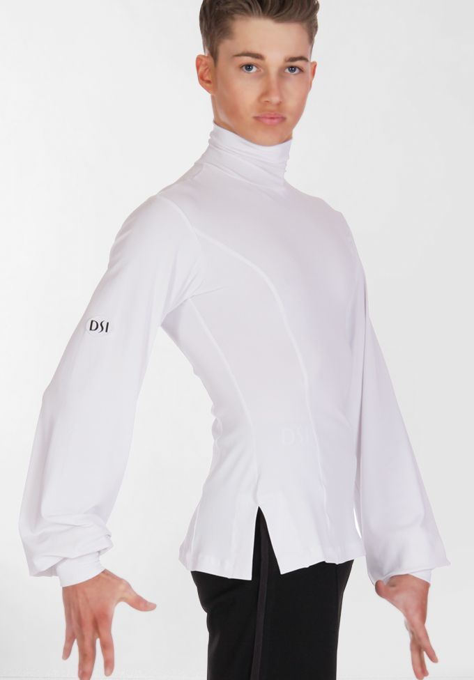 Men's white latin shirt - DSI London, Adrian, loose fitting sleeves prevents the arms from looking too skinny. Visit http://ballroomguide.com/comp/attire/man.html for more info about competition attire.