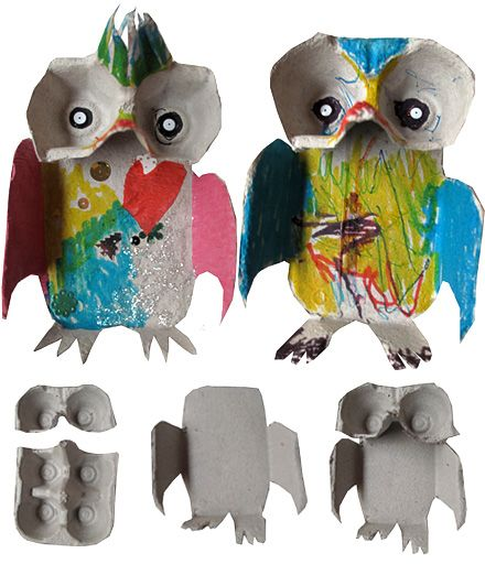 Egg Carton Owls.     All you need: egg cartons, scissors, glue & paint or markers.     1. Cut off the base of the carton & cut as shown.   2. Cut wings from the side.   3. Cut feet from the top.   4. Glue the two pieces together.   5. Stick on buttons for eyes.   6. Colour & decorate your owl. Funky owls!  Cool!!!