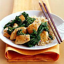 Knoblauch-Hühnchen mit Broccoli und Naturreis