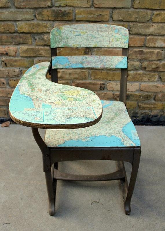 Vintage School Desk with map decoupaged onto it. LOVE IT!
