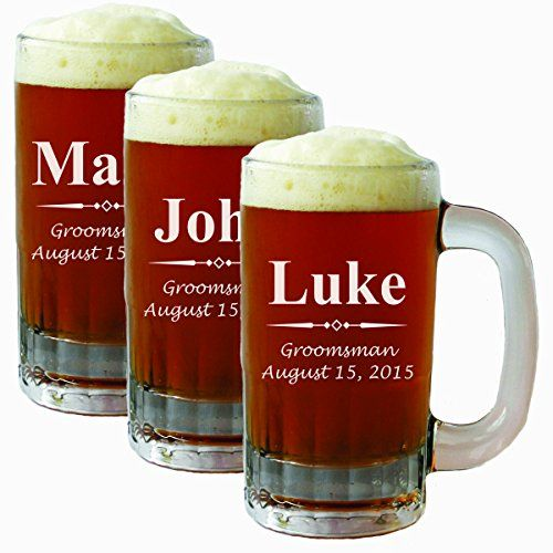 Shop custom engraved groomsmen gifts at Blue Ridge Engraving! 20 oz and liter beer mugs available!