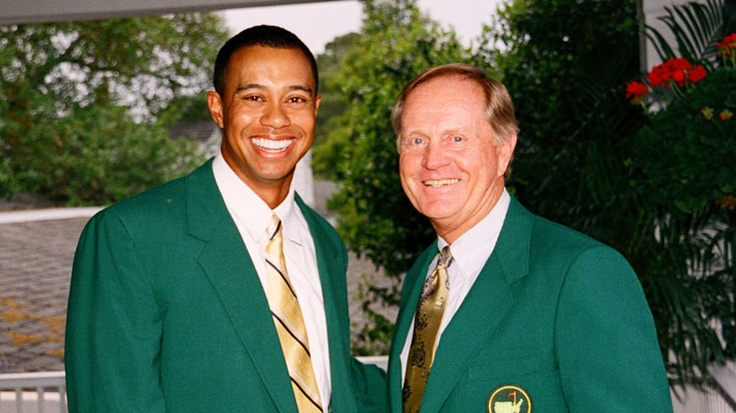 Tiger Woods and Jack Nicklaus at the 2002 Masters Champions Dinner, #golf #jack_nicklaus