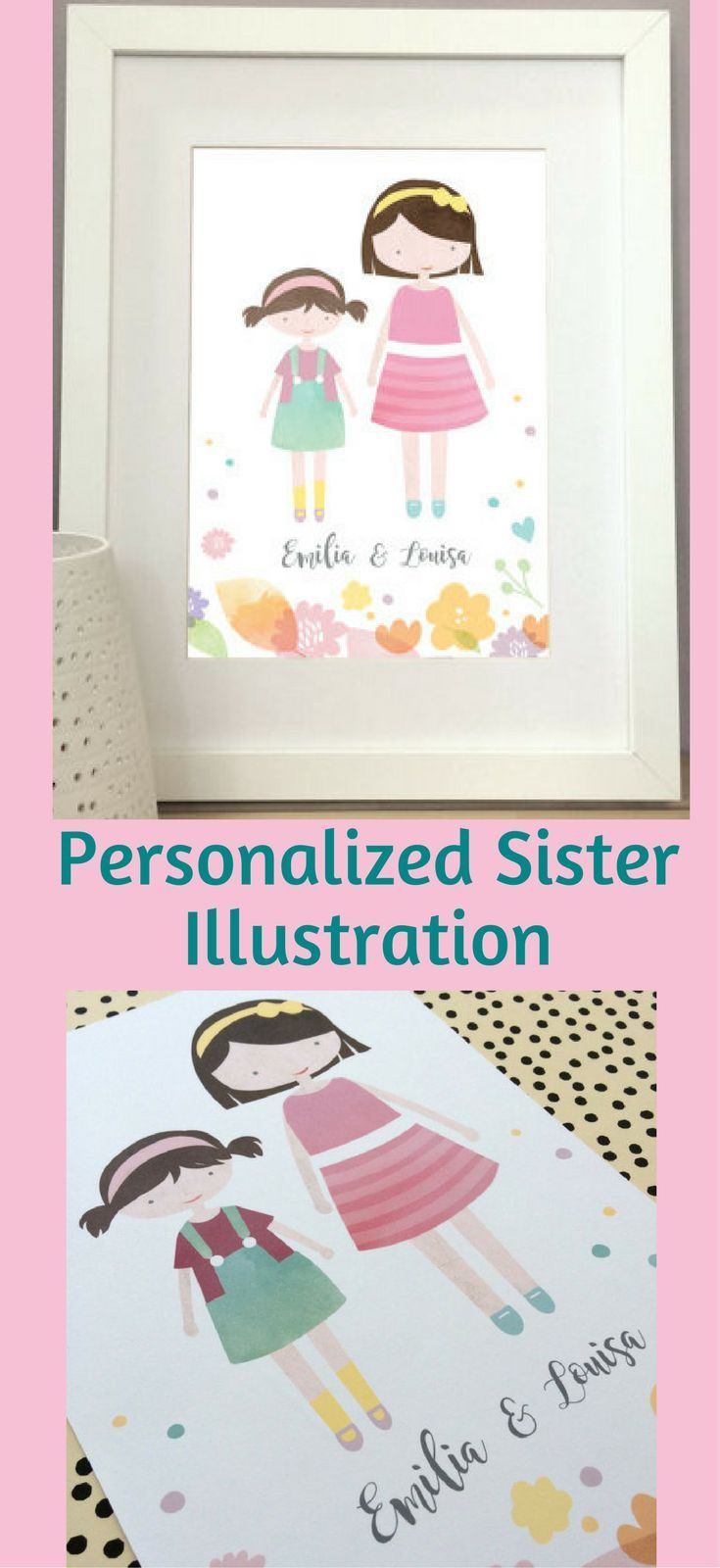 So Precious!! Me and my girls would love this in their shared bedroom! personalised illustration, sister print, custom kids wall art, modern kids room, personalized kids print, unframed print, Personalized Customized Sisters Playroom Wall Art, Playroom Decor, Toy Room, Sisters Wedding Decoration Birthday Gift Ideas, Housewarming Gift Ideas, Sisters Shared Bedroom Illustrated Print #affiliatelink