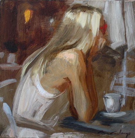 Maleri av Monica Castanys. Størrelse 15x15 cm